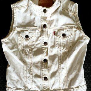 Levi Jean Jacket Sleeveless Denim White Size Small